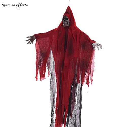 WSJDE Haunted House Escape Decor Gruselige Geisterpuppe Rotes Tuch Furchterregende Augen Glühend Machen Sie Horror Sound Halloween Dekoration Requisiten Geisterspielzeug