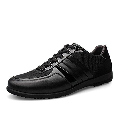 Uomo Moda Tempo libero Scarpe di pelle Ballerine Scarpe casual Antiscivolo traspirante formatori euro DIMENSIONE 38-45 Black