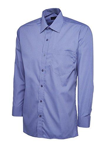Popeline Uniform (Mens-popeline Langärmeliges Top Freizeit Formell Business Arbeit Uniform Security UC709 - Mitte Blau, baumwolle 15% polyester 85% gekämmte polyester 15% 85% gekämmte, Herren, M)