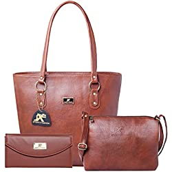 Speed X Fashion Women's Handbag And Sling Bag Combo Of 3 Pics (S0TY-Brown)