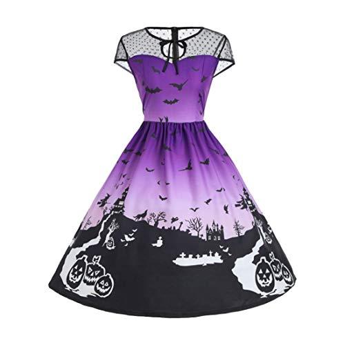 Kanpola Kleider Damen Mode Ärmellos Vintage Beiläufiges Retro Drucken Abend Party Abschlussball Schwingen Halloween Kostüm Kleid
