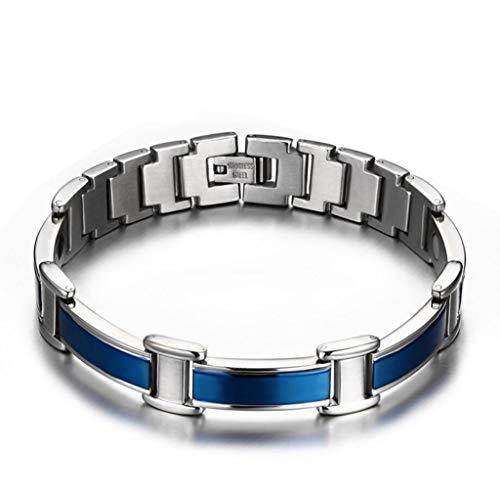 """MTBHW Blaues Magnetelett für Männer natürliche Schmerzen Relief 4 in 1 Elements Therapy Armband mit Free Link Remove Tool 8.3"""""""
