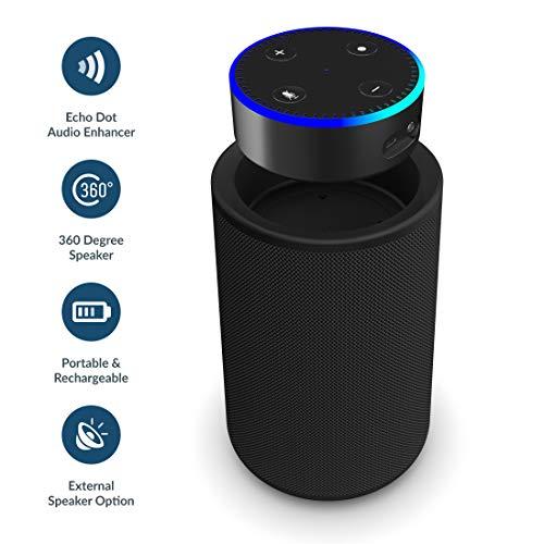 Majority Hobson - Kompatibel mit Echo Dot (Gen 1 und 2) - 360 Lautsprecher mit Dockingfach, aufladbar und tragbar, 20 Stunden unterwegs, AUX IN Kompatibel mit iPhone/Android / MP3, AUX(Schwarz)