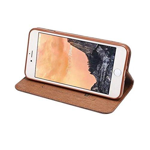 iPhone 7 Plus Coque, Apple iPhone 7 Plus Coque, Lifeturt [ Rouge ] Motif Pure Couleur Housse en Cuir Case à Avec La Fonction Stand Coque de Intérieure Protection Souple Coque Portefeuille TPU Silicone E2-Noir