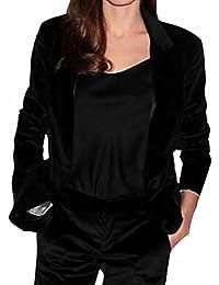 Hot Sale-UK Womens Lapel One Button Velvet Blazer Notched Lapels Stretchy Jacket