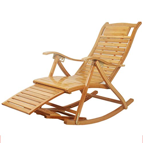 JHUEN Outdoor Bambus Schaukelstuhl Patio Liegestuhl Lounge Chair Faltbare Einstellbar Verstellbar Rocker Hinterhof Stuhl (Farbe : B) -