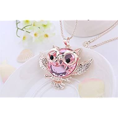 WorldTree Fashion Vintage Bronze Style Owl Bird Animal Pendants Long Chain Necklace,free shipping