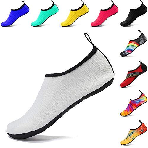 VIFUUR Wassersport Schuhe Barfuß Quick-Dry Aqua Yoga Socken Slip-on für Männer Frauen Kinder Mesh Weiß EU40/41
