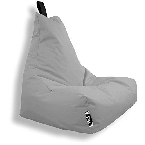 Patchhome Lounge Sessel XXL Gamer Sessel Sitzsack Sessel Sitzkissen In & Outdoor geeignet fertig befüllt | XXL - Grau - in 2 Größen und 25 Farben