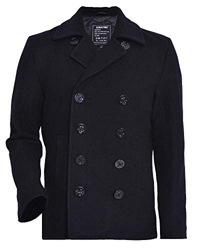 Seibertron Manteau de Laine Type US Navy 80% Laine Peacoat USN Pea Manteau - Caban - Manches Longues - Homme Black XL