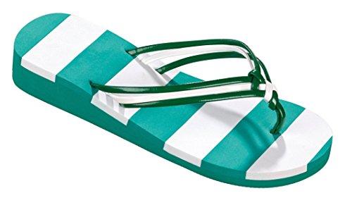 Pantofola Con Cinturino In Vé Verde / Bianco