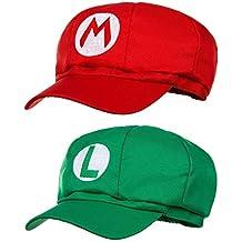 Balinco Paquete Doble Super Mario Gorra + Luigi Gorra para Adultos y Niños  Carnaval Traje de d5e11e7a243