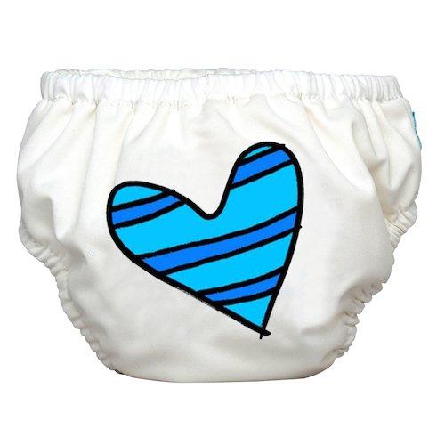 Charlie Banana 2-in-1-Swim Diaper und Training Hose, klein blau Petit Coeur auf weiß (Petite Hose Weiße)