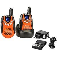 Retevis RT602 Walkie Talkie Bambini Ricaricabili Ricetrasmettitore Bambini 8 Canali PMR446 Batterie Ricaricabili Display LCD VOX CTCSS/DCS Blocco Canali Torcia LED adatto per Famiglia (Arancio, 1 Coppia)