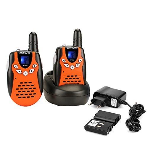funkgeraete fuer kinder Retevis RT602 Walkie Talkie Kinder 8 Kanäle Funkgerät mit Wiederaufladbare Akkus Taschenlampe VOX LCD-Display Walki Talki Spielzeug Spy-Gear Kinder Geschenke (1 Paar, Orange)