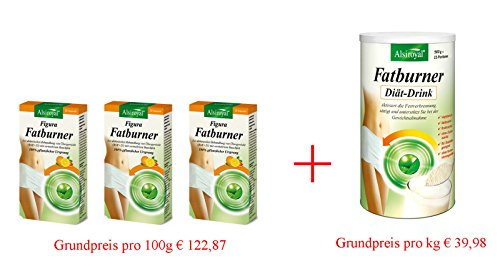 ALSIROYAL Figura Fatburner 3x30 Kps+Fatburner Diät-Drink 500g