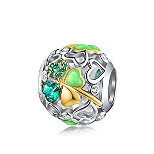 FOREVER QUEEN Glücklich Klee Charm Bead 5A Zirkonia 925 Sterling Silber Glück Gehabt Charms Anhänger für Armbänder und Halskette für Frauen Mädchen Bestes Muttertagsgeschenk mit Geschenkbox