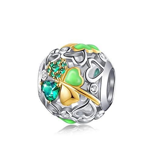 FOREVER QUEEN Glücklich Klee Charm Bead 5A Zirkonia 925 Sterling Silber Glück Gehabt Charms Anhänger für Armbänder und Halskette für Frauen Mädchen mit eleganter Geschenkbox