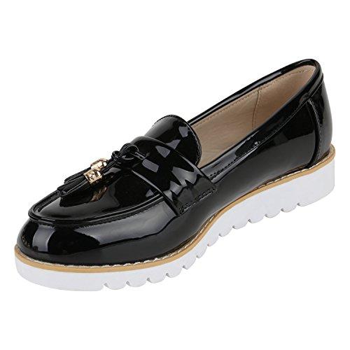 Damen Loafers Quasten Glitzer Slipper Profilsohle Dandy Geek Schwarz Weiss