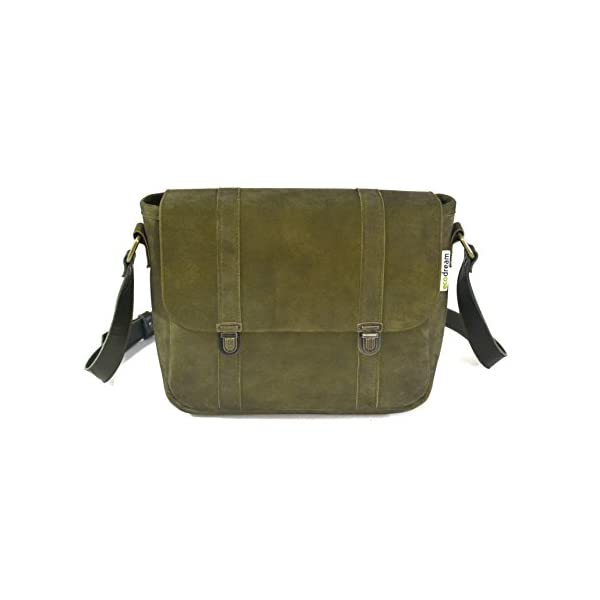 Handbag with strap; military green leather; eco-friendly - handmade-bags