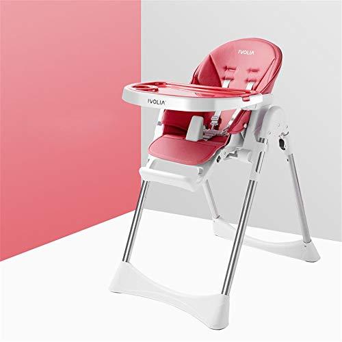 Ein guter Assistent, der sich um Kinder kümmert Baby-Kindersitz Hochstuhl Tragbarer Kinder-Dinner-Stuhl mit Tablett Fütterungsplatte Tisch Anti-Rutsch-Safe Komfortable Höhenverstellbar Faltbare Babyfü - Red Dinner-stühle