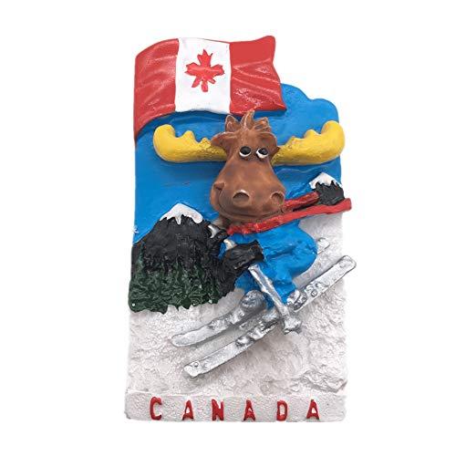 Flagge Elch Ski Kanada Kühlschrankmagnet 3D Harz Handgemachtes Handwerk Tourist Travel City Souvenir Sammlung Brief Kühlschrank Aufkleber