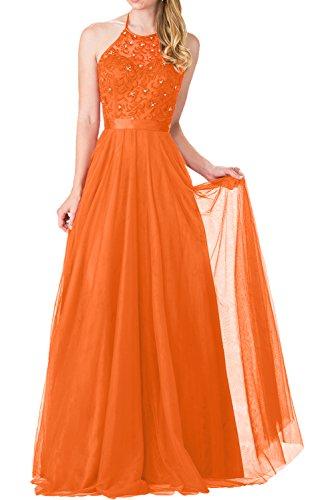 Charmant Damen Navy Blaues langes Abendkleider mit Spitze Ballkleider Prinzess A-linie Festlick Kleider 2017 Neu Orange