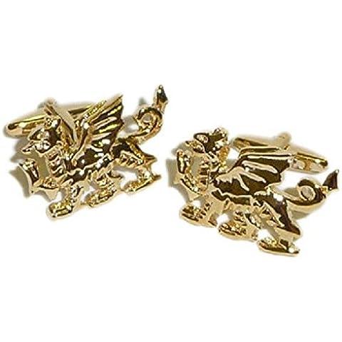 En el diseño de Gales de oro del dragón. Caja de regalo mancuernas del regalo ideal
