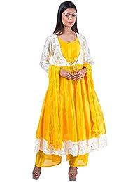 [Sponsored]Mamosa Designer Women's Yellow And Off White Silk Anarkali Kurti And Yellow Silk Palazzo Set With Dupatta For...
