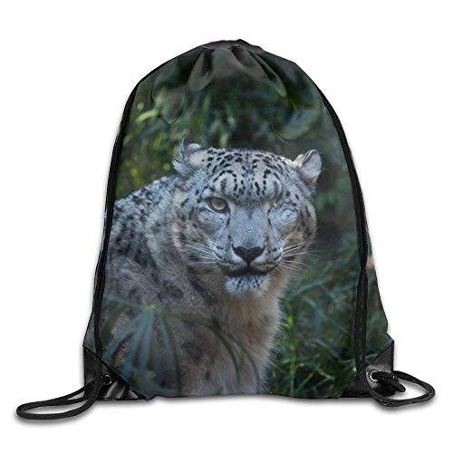 ZHIZIQIU 3D Print Drawstring Bags Bulk, Snow Leopard Black Unisex Home Rucksack Shoulder Bag Sport Drawstring Backpack Bag Size: 4133cm
