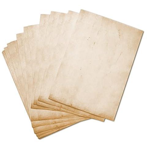 Briefpapier Vintage Retro 50 Blatt DIN A4 im Set beidseitig Motivpapier alt antik. Ideal für Urkunden, Einladungen, Hochzeit, Deko, Weihnachten, Schatzkarte