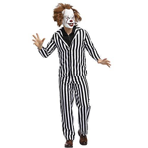 Kostüm Magier Männliche - SJWSJW Halloween Kostüm Erwachsene Horror Geist Familie Gestreift Männlichen Geist Kostüm Zirkus Magier Clown Kostüm XL schwarz