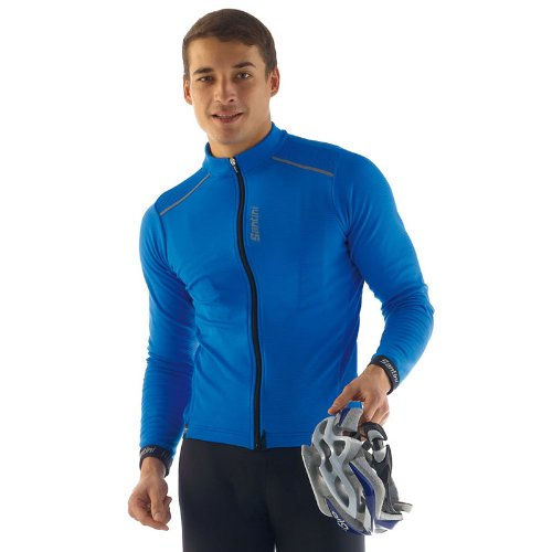 Santini Herren Primo lange Ärmel Thermo Fleece Jersey Größe L königsblau (Santini Thermo-fleece)