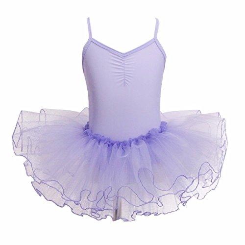 der Ballettkeider Ballettanzug Turnanzug Trikot Tanz Leotard Kleider mit Tüll Rock Lavendel 92-98/2-3 Jahre (Tanz Trikot Kostüme)
