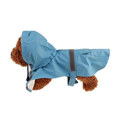 (Igemy Haustier Hund Regenmantel Kleider wasserdicht Draussen Hooded Regenmantel Jacke (L, Himmel Blau))