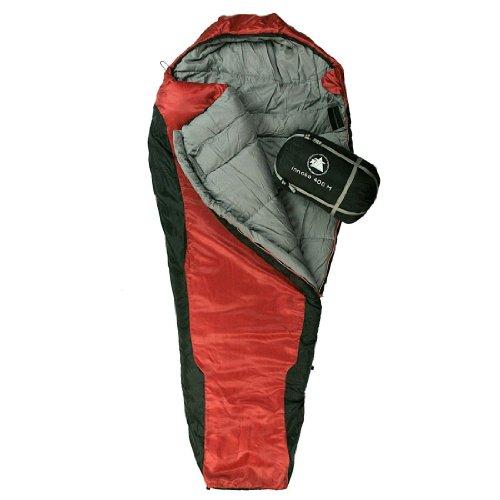 10T Outdoor Equipment, Sacco a pelo Innoko 400, Rosso (Rot), 200 x 85 x 55 cm, Temp estrema -21 °C
