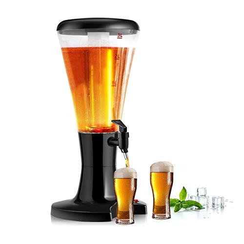 COSTWAY Biertower Bierspender Getränkespender Trinksäule Biersäule Getränkesäule Biersäule Zapfsäule Bier, schwarz, 3L