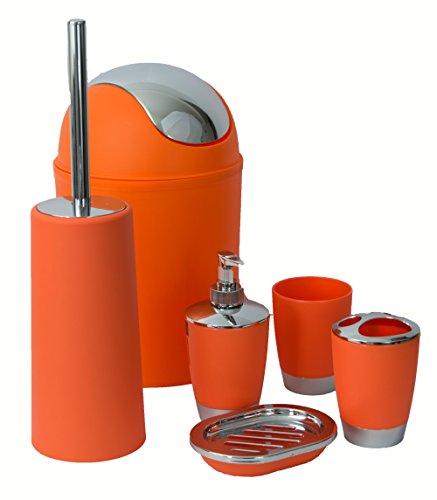 Stella Traders - Set 6 pezzi accessori da bagno, dispenser, porta sapone, cestino, bicchiere, portaspazzolino, scopino Orange