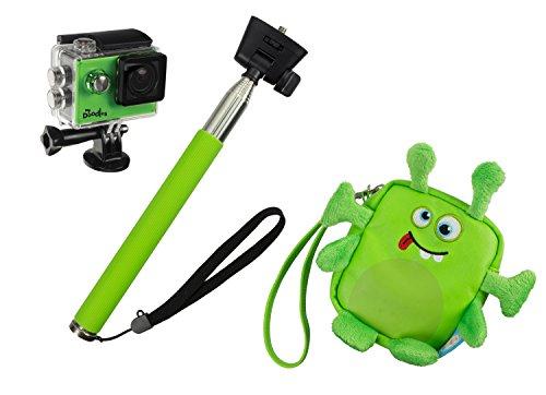 My Doodles Actionkamera Geschenkset im Lustigen Kinderfreundlichen Design mit Selfie-Stick Handstativ, Kameratasche und Diversen Halterungen - Alien