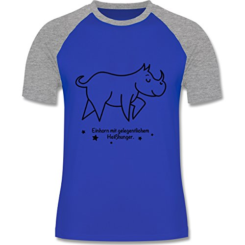Shirtracer Sonstige Tiere - Einhorn mit Gelegentlichem Heißhunger - Herren Baseball Shirt Royalblau/Grau meliert