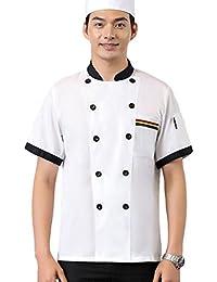 Dooxii Unisex Donna Uomo Estate Manica Corta Giacca da Chef Moda  Traspirante Cucina Mensa Hotel Uniformi e7d211bd744a