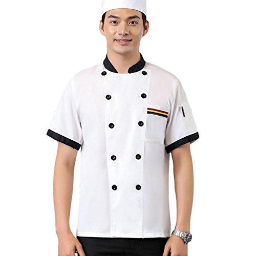 Dooxii unisex donna uomo estate manica corta giacca da chef moda traspirante cucina mensa hotel uniformi divise da cuoco bianca m