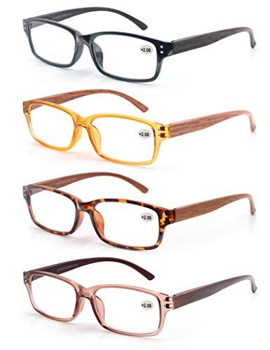 MODFANS 4 Pack Lesebrille 1.75 Herren/Damen,Gute Brillen,Hochwertig,Komfortabel,Rechteckig,Holz-Effekt,Super Lesehilfe,fur Manner und Frauen