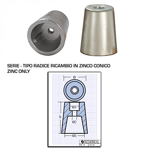tecnoseal-anodo Zink Ogive konisch Achse: 22–25mm: 331mm: 25.02mm: 6.53mm: 11.0mm H: 39kg: 0.135 (Zink-anode)