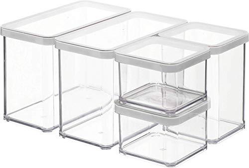 Rotho Premium Loft 5er Set Vorratsdosen , Kunststoff (BPA-frei), transparent/weiss, verschiedene Größen