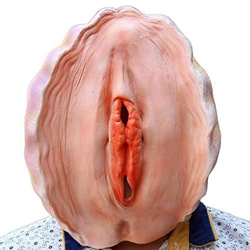 ALi-Handmade Unisex Vagina Shell Halloween Maske Latex Vollkopf -