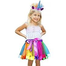 Vamei Rainbow Ribbon Tutu Skirt para niñas pequeñas Fotos de disfraces de ballet con Unicorn Flower Diadema para Little Pony Dress Up Fun