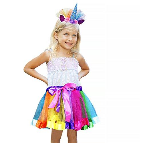 Vamei Rainbow Ribbon Tutu Rock für Kleinkind Mädchen Ballett Kostüm Fotos mit Einhorn Blume Stirnband für Little Pony Dress Up (Pony Kostüm Little)