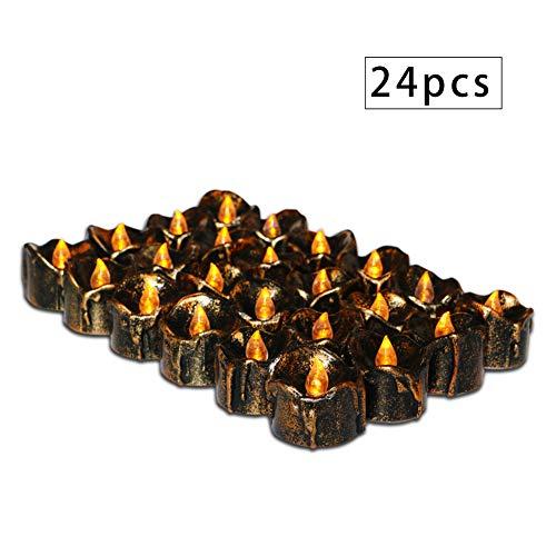 -Teelichter, elektronische Lichter der schwarzen Kerze, gelbes Blinken, vervollkommnen für Halloween-, Weihnachts-, Geburtstags- und Hochzeitsfestgeschenke (12 Stück) ()