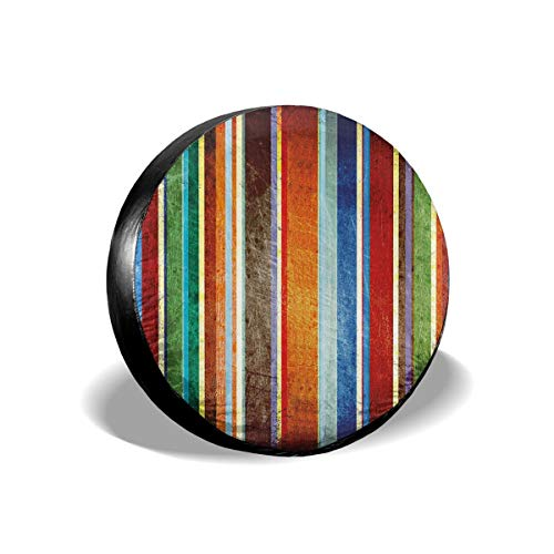 Preisvergleich Produktbild Vertical Lines Colorful Retro Bands with Damage Effects Old Fashion11 Tire Cover Car Accession Travel Decor